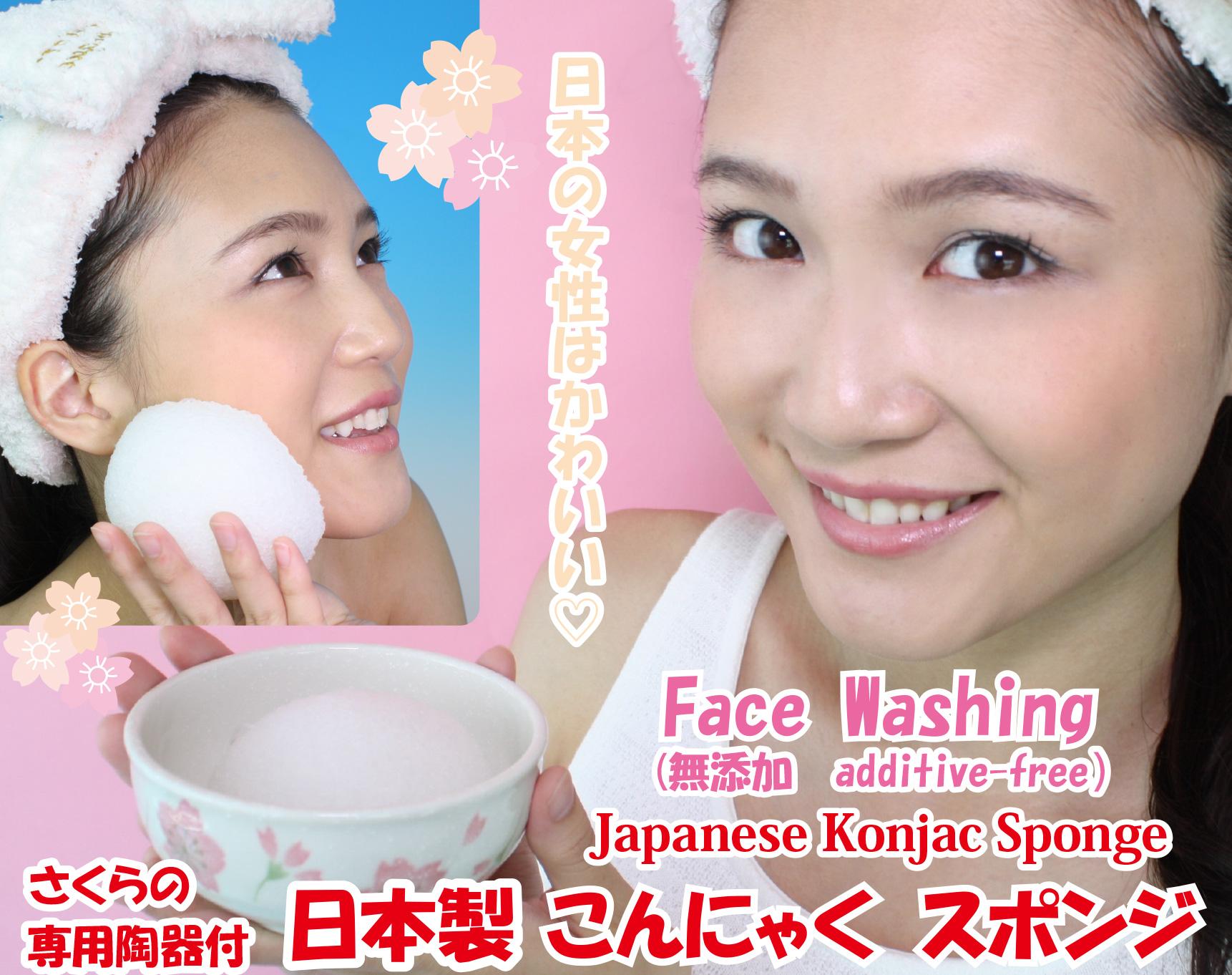 【日本製 こんにゃくスポンジ】 さくらの専用陶器付